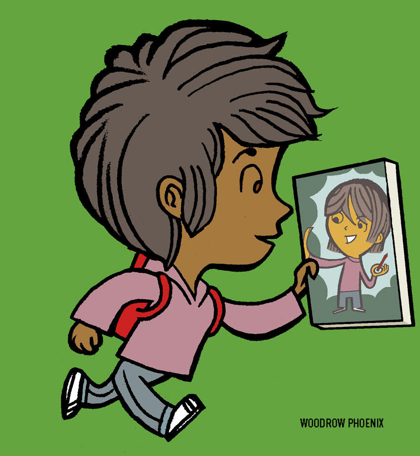 boy running with book, the character on the cover looks like him